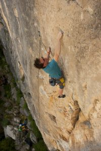 Photo of Jamie climbing