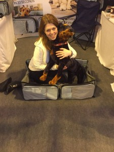 Ruth Lucas, Founder of Rovernighter, and Bronwyn - the business' CCO (Chief Canine Officer)