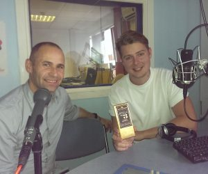 Photo of Rob King and Max Scotford in the Sheffield Live radio studio