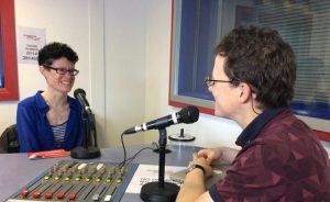 Photo of Jamie Veitch Interviewing Madge Woollard in the Sheffield Live radio studio
